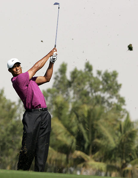 Woods is currently in a tie for fifth, four shots off the lead.