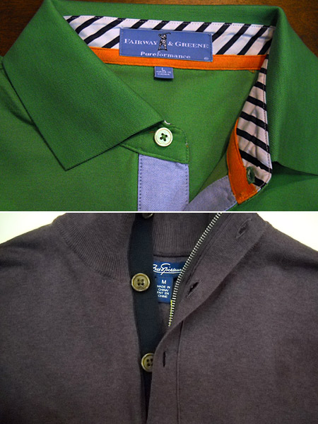 Fine sportswear detailing has increasingly become a feature of better golf clothes, as seen at the recent PGA Merchandise Show, a case in which one small sphere of life at least (sport clothing design) is definitely improving. Here, intricate collar details from a Fairway & Greene polo and a zip (and buttoned) golf sweater from the Jack Nicklaus collection, designed by David Chu.