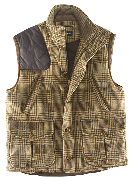 """Hrumph, hrumph. Shall we hit a few today, old boy?"" Veddy tweedy and padded hunter's style vest for playing golf from Polo Golf by Ralph Lauren. Would look good with corduroys and side whiskers."