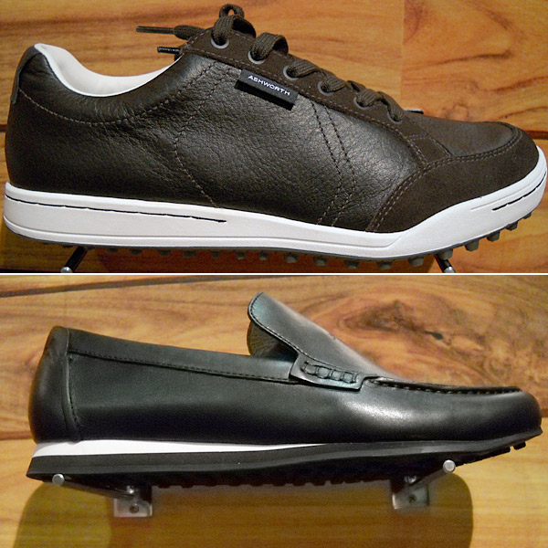 "Blame it on Fred Couples and his laid-back style, but there is a veritable outpouring of casual golf shoes flooding the market, including these, from Couples's apparel sponsor, Ashworth Golf.  For those who want to ""Be like Fred"" there is the sneaker-like but waterproof Cardiff ($120, top) and the Encinitas loafer ($140, bottom), more of a driving shoe, not really designed for the course."