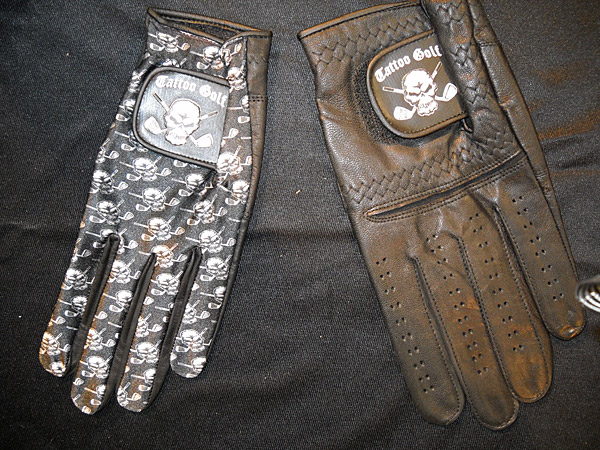 Biker style is probably the antithesis of golf style. But if you gotta have the tattoo look on course, you can always try these genuine Cabrera leather golf gloves with skull patterns ($14.99) from Tattoo Golf, which also makes golf shirts, hats and other accessories.