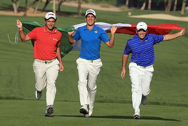Edoardo Molinari, Matteo Manassero and Francesco Molinari, who are all playing in this week's Omega Dubai Desert Classic, showed their Italian pride Tuesday. The three young Italians will next be together for the 2010 Masters.