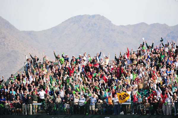 The fans were out in full force at the par-3 16th.