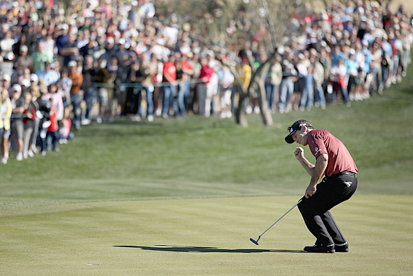 sank a birdie putt on the second hole of a playoff against Jason Dufner to win the 2011 Waste Management Phoenix Open.