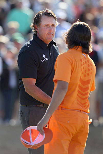 Phil Mickelson and Rickie Fowler played well for most of the tournament, but had fallen out of contention by Monday.