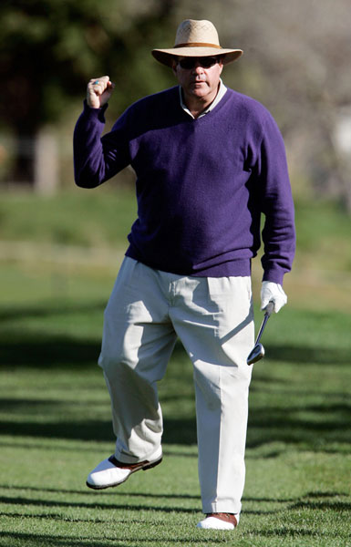 Chris Berman gave the crowd a Tiger-like fist pump after his third shot on the third hole.