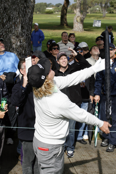 Next, Hoffman used an umbrella in an attempt to get his ball down.