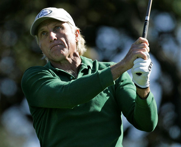 Greg Norman played with his son, Gregory, and ended his first round at four over par.