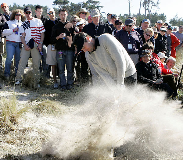 Actor Luke Wilson moved a lot of sand on the fourth hole at Spyglass Hill.