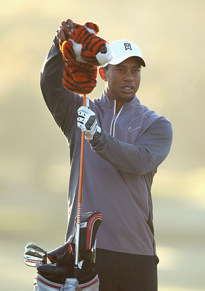Woods played his practice round on Wednesday at the Shore Course.