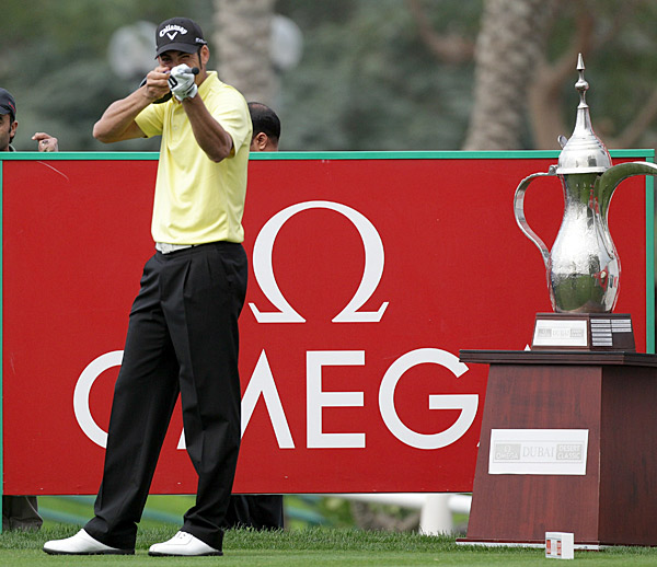 Alvaro Quiros is in Dubai aiming to take home the trophy this week as well.