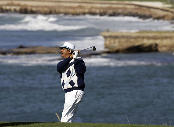 Comedian George Lopez escaped from a bunker on No. 4 at Pebble Beach.