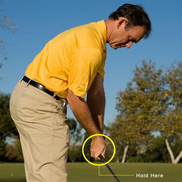 Step 2: RETAIN &                       RELEASE                       On the way back down                       to the ball, try to keep                       the angle in your right                       wrist intact. The easiest                       way to do this is to                       simply leave it alone.                       Even when your hands                       swing below your belt,                       you should still have                       your right-wrist hinge.                       If you do it correctly,                       it will feel like your                       clubface and your                       right palm are                       pointing toward                       the ball as you enter                       the impact zone. This                       allows you to properly                       hit down on the ball and                       compress it for max                       distance and spin.