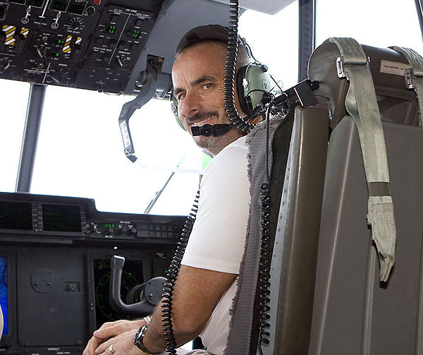 Feherty and the crew traveled by helicopter to several bases.