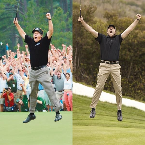"No. 2: MIGHT AS WELL JUMP                           Phil Mickelson wins his first Masters in 2004 and jumps for joy.                           Will Says: ""Shooting this was painful. I needed several Advil.                           When Phil jumps, I think he's three or four inches off the surface                           of the Earth. So I tried to match that with my leaping ability.                           I got about two and a half inches, but I [hadn't] had time to                           warm up. What I did get down was the classic Phil Mickelson                           triple-chin. So that's what I'm most proud of."""
