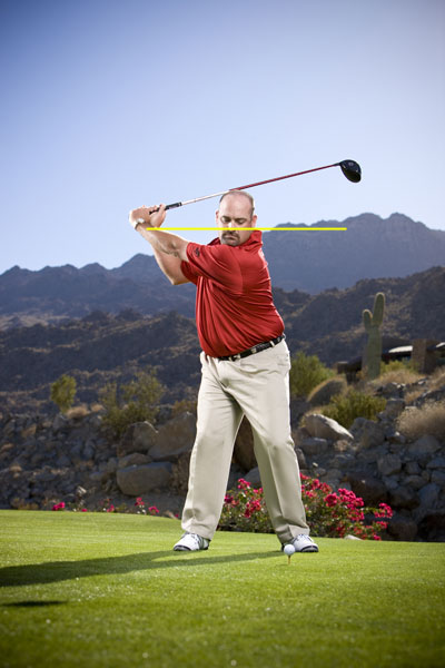 Step 4                       Make a three-quarters backswing. A shorter swing is easier to control. Remember, you're looking for ultimate accuracy here, not ultimate distance.