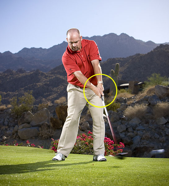 Step 5                       As you swing through impact, keep the extra grip pressure in your left hand intact, and repeat the feeling of having your arms connected to your chest like you did at address. These moves keep the club from releasing too soon and causing a hook. What you get instead is a low-flying missile that almost never misses.