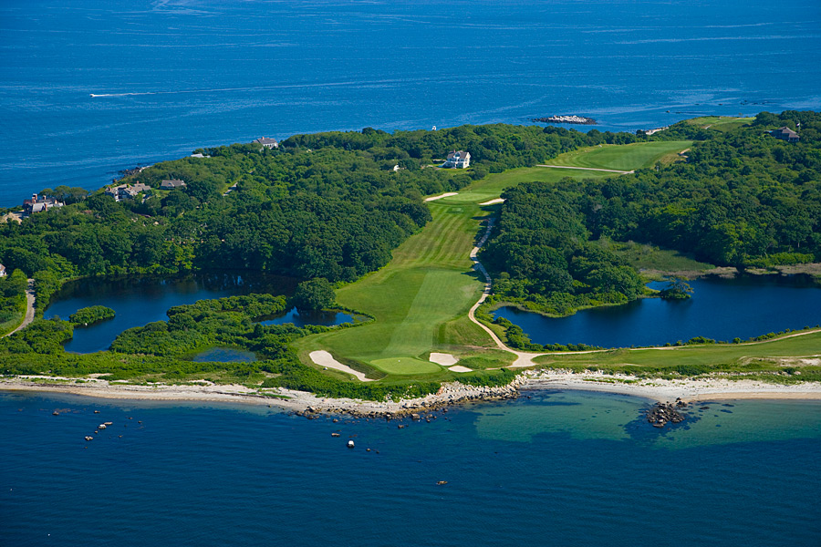 "Fisher's Island Golf Club -- Fisher's Island, N.Y.                       No bridge connects the mainland to this wealthy, WASPy enclave on the southeastern reaches of Long Island Sound, so you have to take a ferry from Connecticut. But just getting on the island doesn't get you on the course, whose members are a different breed from the Hamptons' nouveau riche. ""Island"" in this case isn't just a location. It's a metaphor for a club that operates as a world apart."