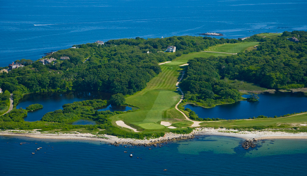 "7. Fishers Island Club -- Fishers Island, N.Y.                       Accessible only by ferry, this exclusive retreat off Connecticut is populated by the oldest of the Old Money crowd, many of whom still enjoy hoofing it. Why wouldn't they, given the classic Seth Raynor design, the delightful tumbling terrain and the spectacular views of Long Island Sound. As Tom Doak put it, ""I cannot deny that on a breezy summer's day, Fishers Island is one of the most idyllic places possible for a round of golf."""