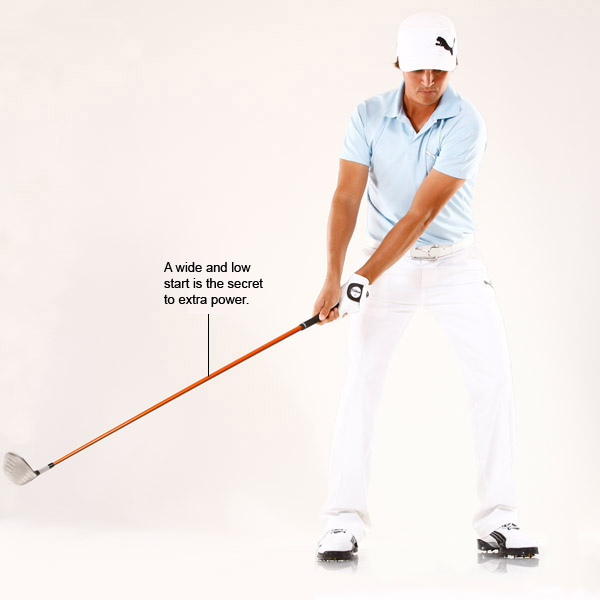 Try This!                                              If I need to add a few more yards to my driver swing, like on a par 5 or to carry a bunker that's way out there, I'll make my same shoulder turn but do it a little slower. This slower turn helps the clubhead stay low during my takeaway and trace a wider arc.                                              The wider you can make your arc, the more potential energy you'll store up on your backswing.