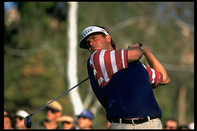 Fred Couples hits a drive at the Tournament of Champions in La Costa, Calif., in January 1994.