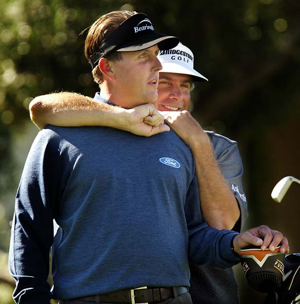 Phil Mickelson and Fred Couples at 2005 Bob Hope Classic in Palm Springs, Calif.