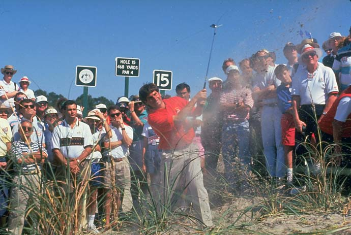 Fred Couples chips from the rough at the 1991 Ryder Cup at Kiawah Island, the infamous War By the Shore.