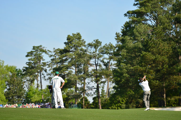Bubba Watson's second shot on the 1st hole. He shot 68 Friday.