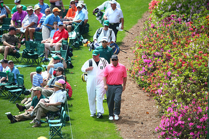 Kevin Stadler walks to the 6th green on Friday. Stadler finished his second round at 1-under.