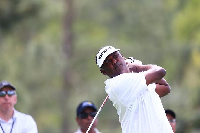 Vijay Singh on Friday at the Masters. He was 2-over after the second round.