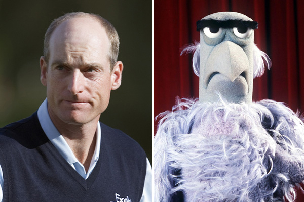Jim Furyk and Sam the Eagle from The Muppets.