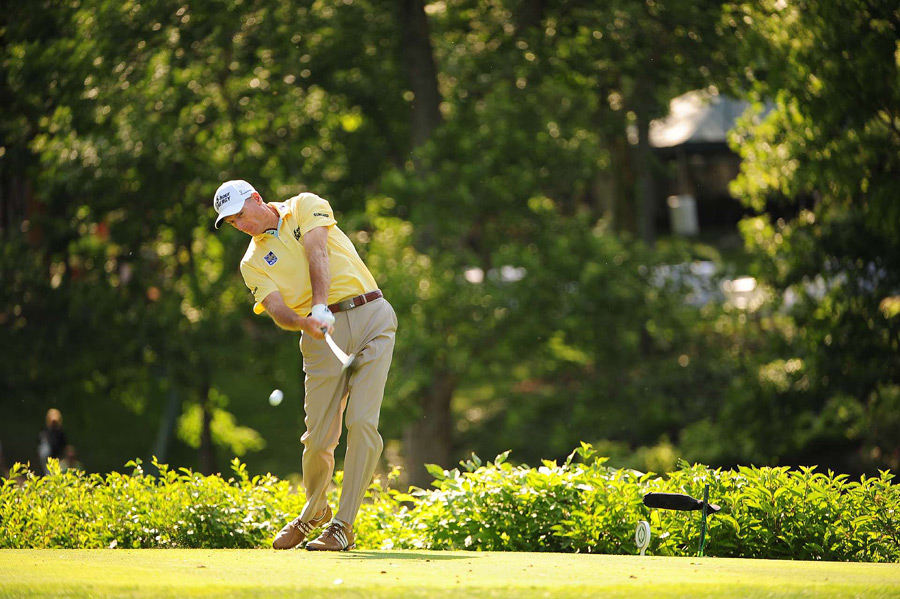 Jim Furyk made three double bogeys in his round of three-over 75.