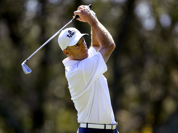 Jim Furyk birdied 18 to grab a share of second place.