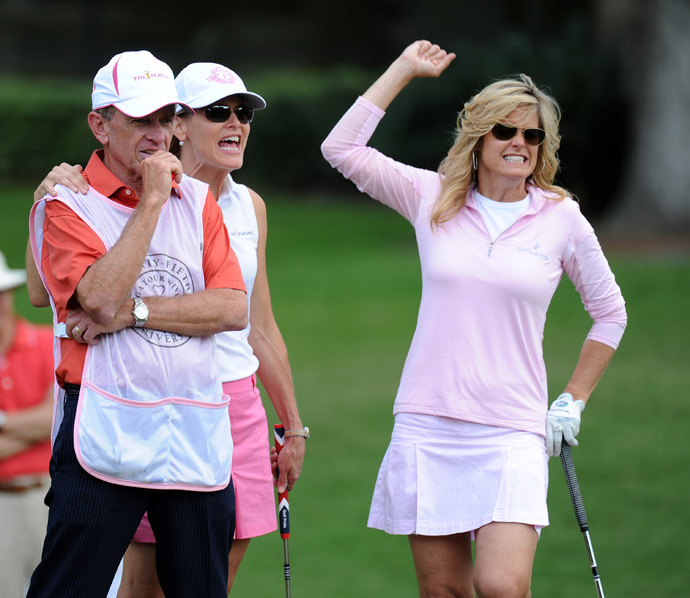 Jim Furyk's wife, Tabitha, made a birdie on No. 7 as PGA Tour commissioner Tim Finchem and his wife, Holly, looked on.
