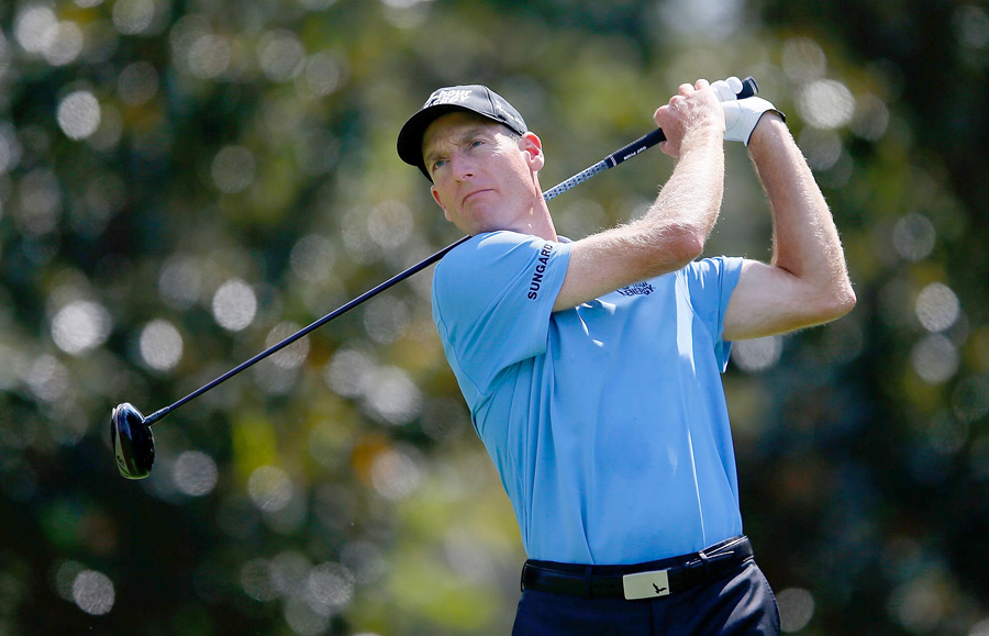 Jim Furyk made nine birdies and three bogeys for a 64 and a one-shot lead heading into the weekend.