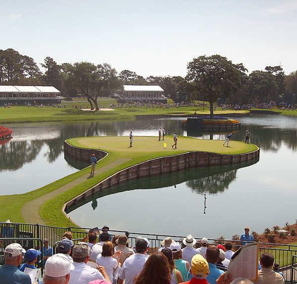 The par-3 17th hole was, as always, an entertaining hole to watch on Thursday.