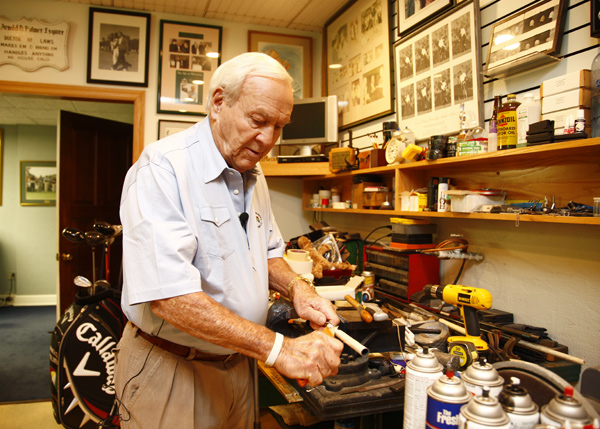After we wandered into his workshop, Palmer spontaneously grabbed a driver and re-gripped the club. He said he still enjoys tinkering with equipment.