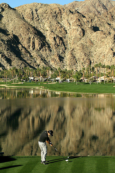 Bio Kim parred the scenic par-4 10th hole at PGA West's Palmer Course on Wednesday at the Bob Hope Classic. The PGA Tour rookie shot a 1-under 71 in his opening round.