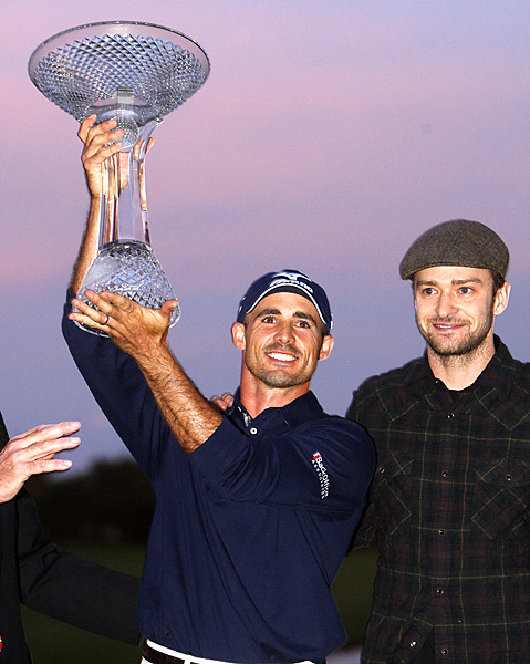 made one of the greatest shots of the year on the fourth hole of a sudden-death playoff with Cameron Percy and Martin Laird: an ace to win the Justin Timberlake Shriners Hospitals for Children Open.