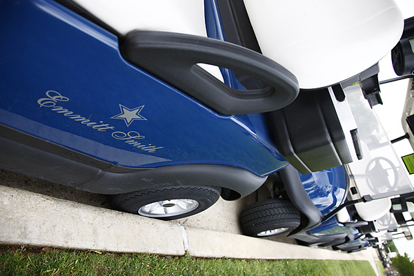 Among the perks of being a Hall of Fame running back: a personalized golf cart.