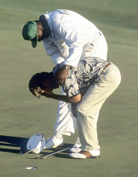 Ben Crenshaw and Carl Jackson                           One of the most emotional scenes ever at the Masters was when Carl Jackson consoled his player, Ben Crenshaw, in victory in 1995, days after Crenshaw buried his golfing mentor, Harvey Penick.