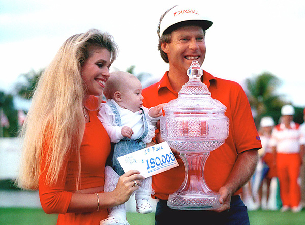 Ben married his second wife, Julie Ann, in 1985 (here they celebrate Ben's win at the 1988 Doral Open). They have three daughters.