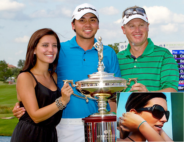 """Ellie DayJason's wife (and caddie Colin Swatton) celebrated the pro's win at the 2010 Byron Nelson -- but Ellie may have had her iconic """"Jackie O"""" moment while spotted in sunglasses at the 2011 Masters (inset)."""