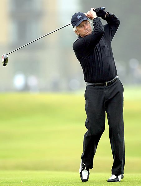 Actor Michael Douglas took on the Old Course on Saturday.