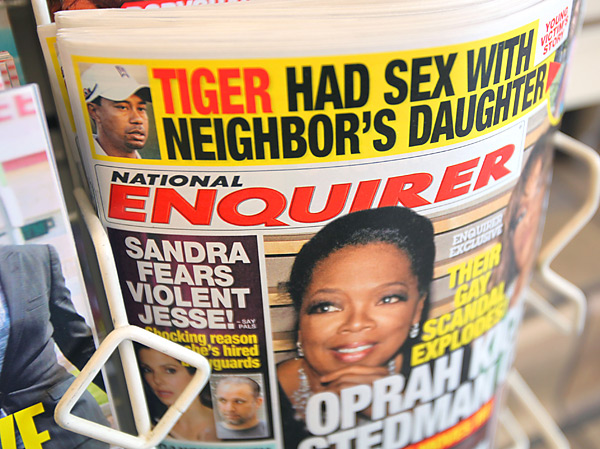 The National Enquirer                           After breaking the Uchitel story, the tabloid had the first photo of Woods strolling the grounds (with a sweatshirt over his head) at Pine Grove Behavioral Health and Addiction Services in Mississippi.
