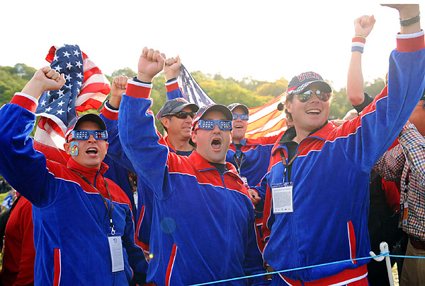 American fans enjoyed their team's surprising lead after the opening four balls.
