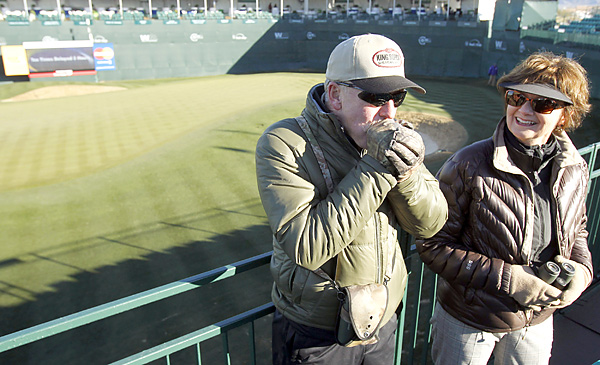 The famed 16th hole bleachers were quiet on Thursday morning as play was delayed for four hours because of frost.