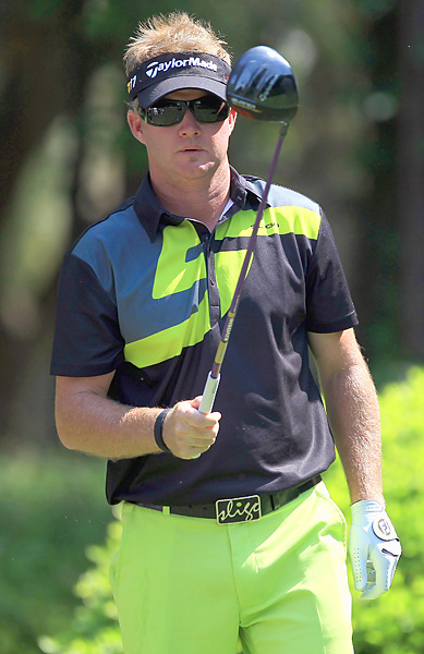 Brian Gay sported a bold look while firing a five-under 66.