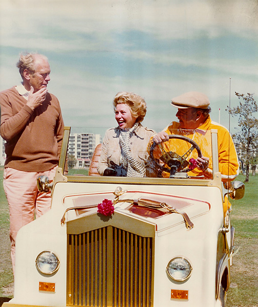 Gleason in golf cart with wife, Marilyn, alongside President Ford, Inverrary Country Club, 1977                                              President Gerald Ford was a close friend of Gleason's and played his tournament almost every year. Gleason's luxurious golf carts were built by Royal Ride Golf Carts and this one could play The Honeymooners theme.