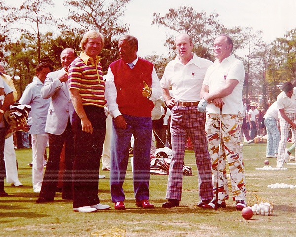 "Jack Nicklaus, Jackie Gleason, President Gerald Ford, and Bob Hope at the Jackie Gleason Inverrary Classic Pro-Am, 1978.                                              ""That was a fun day, but it was total chaos,"" Nicklaus said. ""Could they do it today? Probably not. We had a huge crowd that day. With the way the galleries are today you'd have five times that many."""